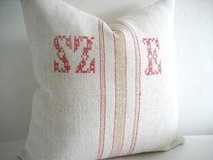 European Grain Sack Pillow Cover 18 x 18 Caramel and Red Stripes Embroidered Monogram. $53.00, via Etsy.