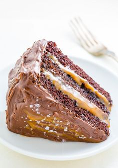 Three layers of Salted Caramel Chocolate Cake slathered in homemade Salted Caramel Chocolate Frosting. So decadent!