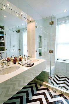 Graphic Chevron Bathroom Floor design Christina Murphy Interiors House & Home Unusual Bathrooms, Beautiful Bathrooms, Modern Bathroom, White Bathroom, Glamorous Bathroom, Bathroom Images, Bathroom Bath, Design Bathroom, Master Bathroom