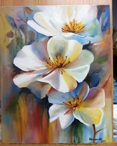 Beautiful white flower painting could be done in watercolor. Acrylic or oil painting. Beautiful white flower painting could be done in watercolor. Acrylic or oil painting. Acrylic Flowers, Oil Painting Flowers, Abstract Flowers, Watercolor Flowers, Painting & Drawing, Watercolor Art, Floral Paintings, Decorative Paintings, Drawing Flowers
