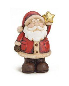 2 x Deko Figur niedlicher Elch Rentier mit dickem Bauch Mütze Schal und Sack aus Polystein braun beige Höhe 23 cm, witzige Figur als Deko für Winter Weihnachten