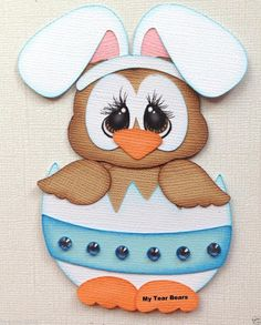 EASTER OWL WITH BUNNY EARS IN EGG SPRING PAPER PIECING BY MY TEAR BEARS KIRA