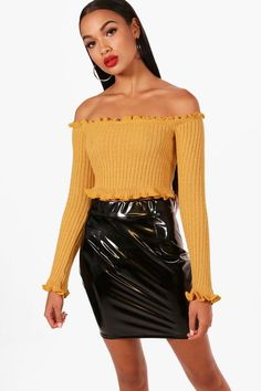 63eb78a3e3f1 Kate Lettuce Hem Rib Crop Jumper Sequin Crop Top, Sequin Sweater, Ribbed  Turtleneck,. Boohoo UK