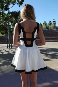 Black & white open-back dress