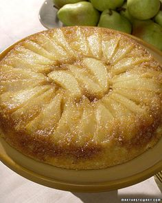 Introduced in the 1930s, when cast-iron skillets were more commonly found in kitchens than baking pans, the upside-down, or skillet, cake has survived eras of modernization to remain a beloved dessert. Today, Martha puts a seasonal twist on this old-fashioned favorite, eschewing the classic pineapple for sweet and juicy Bartlett pears�large, bell-shaped fruits with smooth, yellow-green skin.