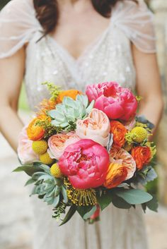 Bright wedding bouquet: http://www.stylemepretty.com/little-black-book-blog/2014/10/13/preppy-romance-at-natures-point-on-lake-travis/ | Photography: Diana M. Lott - http://www.dianamlottphotography.com/