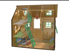 Interior Casita de Madera Infantil Super Posada. Amplio espacio de juego y doble litera.