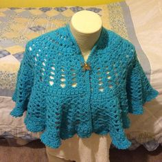 NEW HANDMADE SHORT SWEETHEART CAPE This is an elbow-length version of the Friendship Heart cape in a beautiful teal color. Red Heart worsted weight yarn is machine washable and dryable! Actually gets softer with every wash & dry! Taking custom orders in your choice of colors! Jackets & Coats Capes
