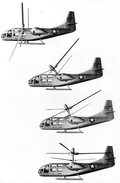Vertical-to-horizontal transition of the Bell XV-3, the first successful tiltrotor aircraft flown in August 1959. Neat vintage flight video here: https://www.youtube.com/watch?v=WL2SeFy2Czs