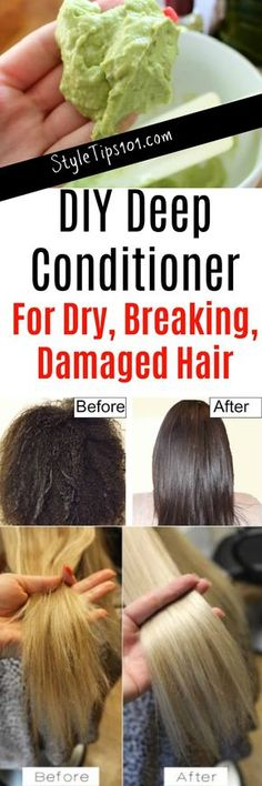 Try this DIY deep conditioner for dry breaking damaged hair. - Try this DIY deep conditioner for dry breaking damaged hair. Homemade Deep Conditioner, Hair Conditioner, Natural Hair Care, Natural Hair Styles, Diy Hair Treatment, Homemade Hair Treatments, Coconut Oil Hair Mask, Diy Hair Mask, Hair Remedies