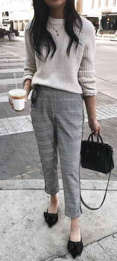 trendy outfit | grey sweater + plaid pants + bag + shoes