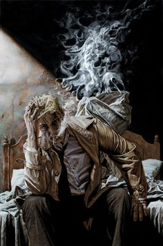 """John Constantine, """"Hellblazer"""" by Lee Bermejo. Don't miss the face in the smoke. Comic Book Artists, Comic Book Characters, Comic Character, Comic Books Art, Comic Art, Epic Characters, Arte Dc Comics, Dc Comics Art, John Constantine Hellblazer"""