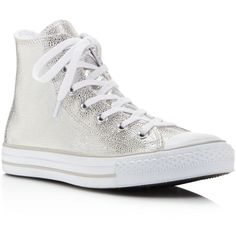 Converse Chuck Taylor All Star Stingray Embossed Metallic High Top... ($85) ❤ liked on Polyvore featuring shoes, sneakers, silver, high top leather shoes, leather sneakers, hi tops, lace up shoes and lace up high top sneakers
