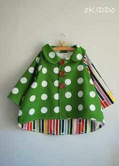 Girls Tulip Bubble Coat Jacket in Green and White Sizes by oKIDDo