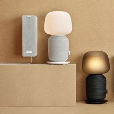 Sonos and Ikea have joined together to design speakers that do double duty Speaker Table, Sonos Speakers, Bookshelf Speakers, Speaker Design, Audio System, Lighting Design, Sconces, Ikea, Wall Lights