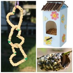 18 totally awesome bird feeder crafts for kids. I love the Lego bird feeder! Spring Crafts For Kids, Crafts For Kids To Make, Fun Crafts, Bird Feeders For Kids To Make, Bird Feeder Craft, Bird Houses Diy, Camping Crafts, Totally Awesome, Kids Corner