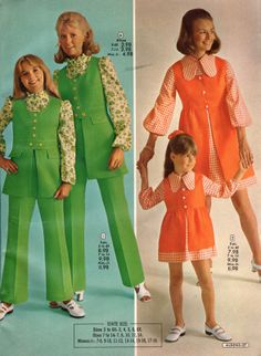 1972 Aldens catalog. Mother and daughter matching outfits.