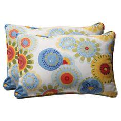 Outdoor 2-Piece Lumbar Toss Pillow Set - Blue/White/Yellow Floral 24