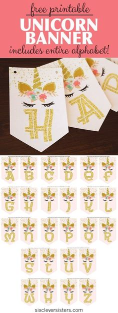 Andaz Press Gold Glitter Print Hanging Pennant Party Banner with String Includes String ABCD 9-Feet 1-Set Not Real Glitter Girl Baptism Pink and Gold Glitter Crosses Decor Paper Decorations