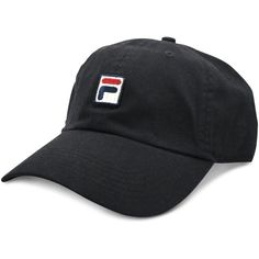 Fila Heritage Cotton Baseball Cap ($25) ❤ liked on Polyvore featuring accessories, hats, black, baseball cap hats, cotton hat, fila, fila cap and cap hats