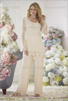 Mother of the Bride Pant Suits | ... Ivory Lace Two piece mother of the bride dresses pants suit wholesale