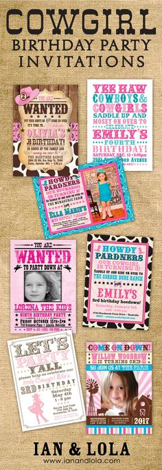 Bandana, burlap, rustic and western. Shop for cute and fully customizable cowgirl and farm style birthday party invitations at Ian and Lola. Select from DIY digital or beautiful prints. Coordinating party printables upon request.
