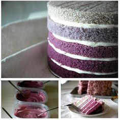 This cake is BEAUTIFUL. It seems a waste to trim all the way around the layers, but it really makes the colors pop. I also like the pink rose frosting to top it off