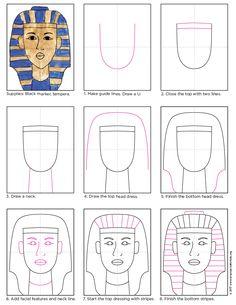 How To Draw King Tut. NEW PDF tutorial. #kingtut