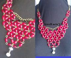 Red Flowers Statement Bib Style Necklace