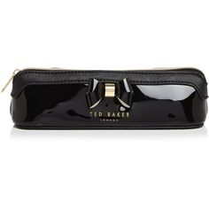Ted Baker Layered Bow Pencil Case ($35) ❤ liked on Polyvore featuring home, home decor, office accessories, black, black pencil case, ted baker tote, black pencil pouch, black pens and ebony pencil