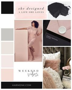 A blush pink and black moodboard for a brand whose ultimate goal is to empower millennial, goal-digging women to increase their earning potential and be self-sufficient. Design Agency, Branding Design, Luxury Website, Web Design, Brand Board, Logo Design Inspiration, Moodboard Inspiration, Fashion Inspiration, Fashion Branding
