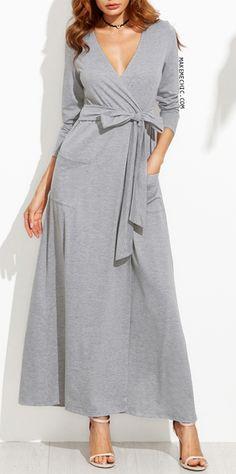 Heather Grey Wrap Maxi Dress With Pockets Chic Dress df6a18464564c