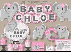 Baby Elephant Baby Shower Decorations For Girl Or 1st First Birthday Party,  Invitation, Banner, Favor Tag, Cupcake Topper, Invite, Printed