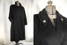 1930s Coat// 1940s Coat// 30s Flapper Coat// Cocoon Coat// Black Wool Coat// XL Flapper Coat// Opera Coat// XL Coat// Black Wool Swing Coat by RockabillyRavenVtg on Etsy
