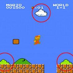 Você já percebeu? Os traços das nuvens e arbustos do game Super Mario Bros. são idênticos. #MarioBros #Game #Nintendo