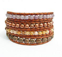 Beaded Leather Wrap Bracelet, Lilac Stone, Morocco Agate, Copper Beads and Leather Bracelet by Belky's Bracelets, $55.00