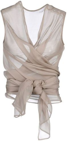 Haider Ackermann sheer nude wrap top--great piece to wear with every color --dressy, casual. Look Fashion, World Of Fashion, Fashion Beauty, Womens Fashion, 70s Fashion, Fashion Details, Skirt Fashion, Street Fashion, Fashion Art