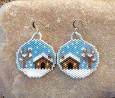 Winter Cabin Snow Glo Beaded Earrings by DoubleACreations on Etsy