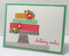 Build A Birthday, Cake on Pedestal Card by GWTW Junkie - Cards and Paper Crafts at Splitcoaststampers
