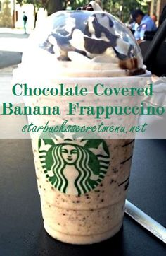 The Chocolate Covered Banana Frappuccino / Starbucks Secret Menu Starbucks Frappuccino, Starbucks Recipes, Starbucks Coffee, Coffee Recipes, Drink Recipes, Smoothies, Smoothie Drinks, Smoothie Recipes, Starbucks Secret Menu Drinks