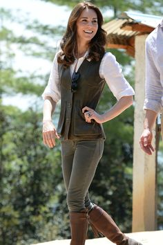 Kate Middleton wore a pair of Penelope Chilvers boots that she's owned for over 10 years to hike up to Paro Taktsang, the Tiger's Nest monastery, during a week-long tour of India and Bhutan. The rest of her outfit included a pair of jeans, a deep green vest from Really Wild, and a Jaeger linen blouse.