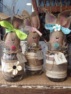 A personal favorite from my Etsy shop https://www.etsy.com/listing/180418215/burlap-easter-bunny-bunny-jar-easter