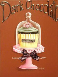 Cupcake+Print+Dark+Chocolate+by+catherineholman+on+Etsy,+$16.95