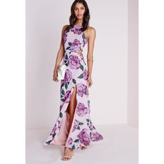 Missguided Chiffon Maxi Dress Pink Floral (125 AUD) ❤ liked on Polyvore featuring dresses, pink, pink dress, pink floral dress, cutout dress, pink maxi dress and floral print maxi dress