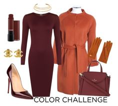"""""""fall day of work"""" by aliciawiseman on Polyvore featuring St. John, WearAll, Christian Louboutin, Kate Spade, Kenneth Jay Lane, Causse, Chanel, colorchallenge and pumpkinandburgundy"""