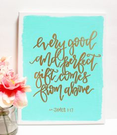 Watercolor Quote Art Modern Calligraphy Mint Watercolor Wall Decor Gold Handlettering Wall Hanging Bible Verse Scripture Sign Canvas Art