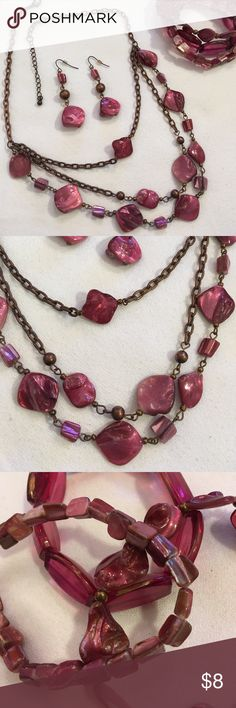 """Pink Shell and Copper Layered Necklace Set You get everything pictured. Please see the pink color has some wear. Please zoom in. Adjustable length. 19""""-21"""" inches. 3.5"""" drop on necklace. Boutique Jewelry Necklaces"""