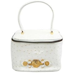 Preowned Versace White Faux Ostrich Vanity Case ($600) ❤ liked on Polyvore featuring beauty products, beauty accessories, bags & cases, cosmetic bags, white, dop kit, cosmetic purse, make up purse, versace and make up bag