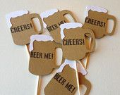 12 Beer Mug Cupcake Topper Food Pick Topper