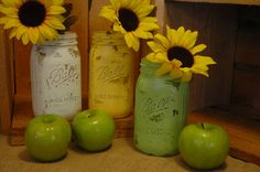 Apple Orchard QUART size painted mason jar by PineknobsAndCrickets, $18.00